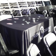 Tables were decked out with High5Casino.com coasters and poker chips.